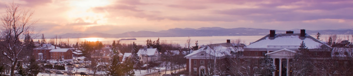View of Waterman and the lake on a winter sunset