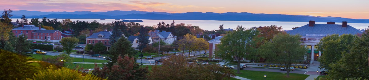 View of UVM buildings looking towards the Adirondacks