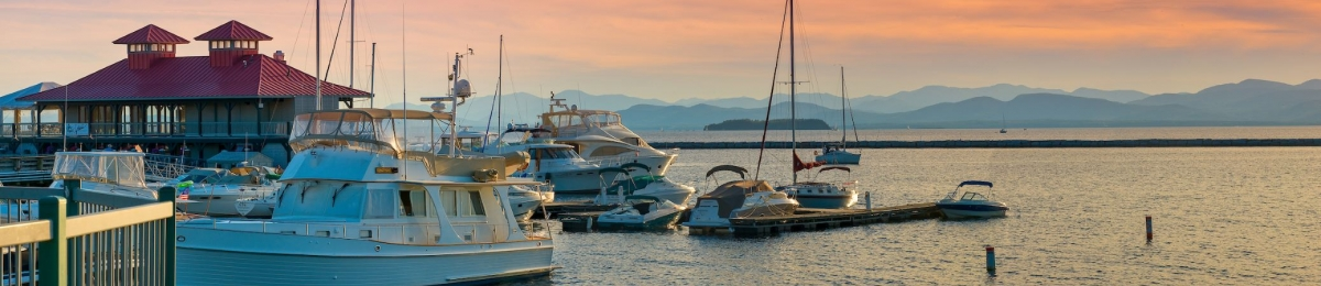 Burlington waterfront at sunset