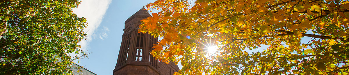 Top of Billings Library with fall leaves on trees