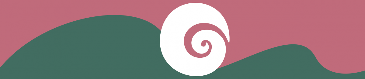 pink and green design with a spiral in the middle