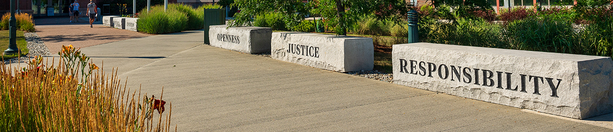 Image of the Responsibility bench outside the Davis Center