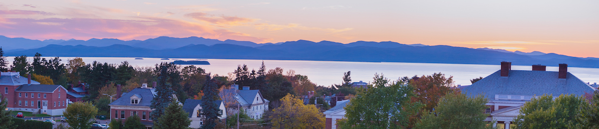 View of Waterman building, Lake Champlain, and the Adirondack mountains.