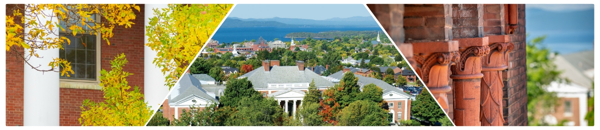 Collage of UVM campus including Waterman building and views of Burlington and Lake Champlain