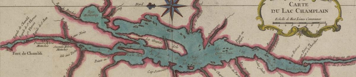 Historic map of Lake Champlain.