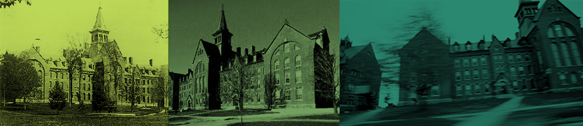 Historic images of the Old Mill building on the University of Vermont campus