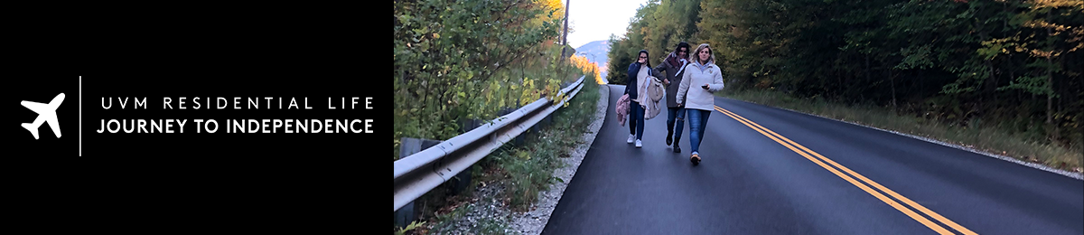 Students walking along road