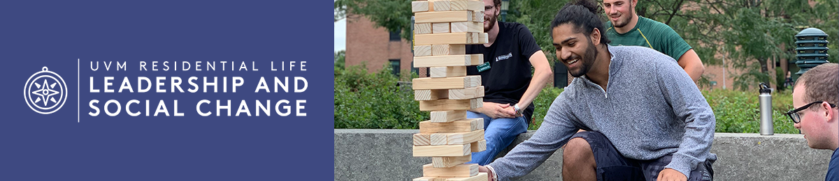Student building wood tower