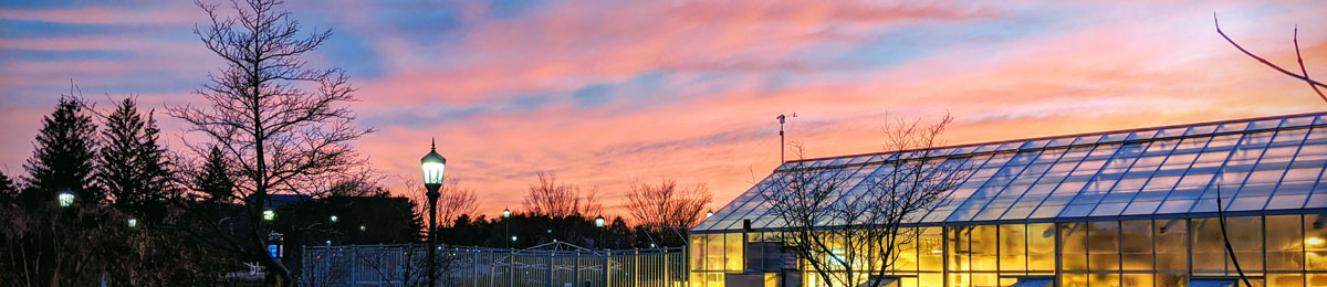 Campus Greenhouse at sunset