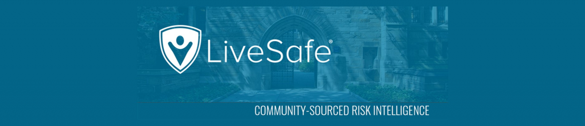 "Blue banner with light blue text that reads ""LiveSafe: community-sourced risk intelligence"""