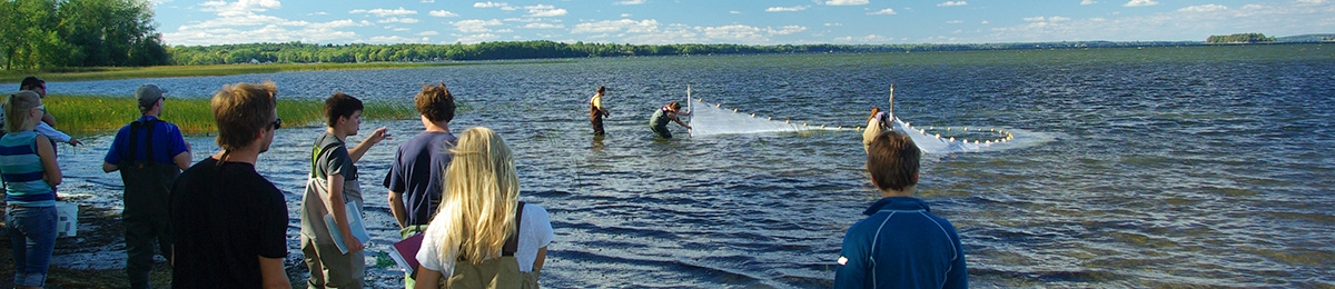 Students seine netting in lake.