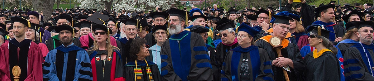 group of faculty at commencement