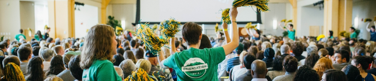 Orientation picture of students cheering