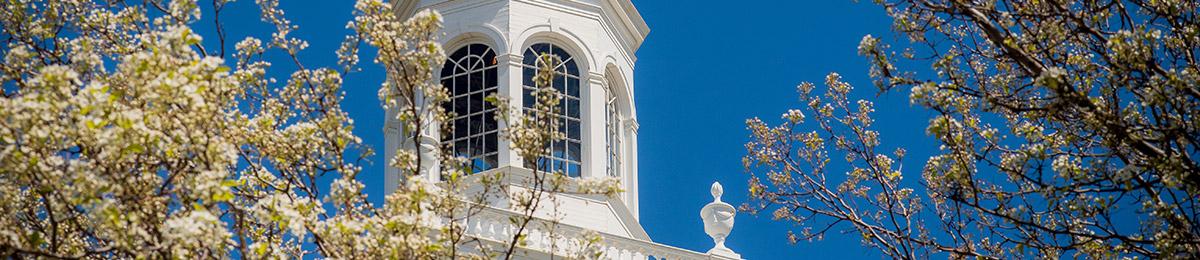 top of Ira Allen Chapel against blue sky