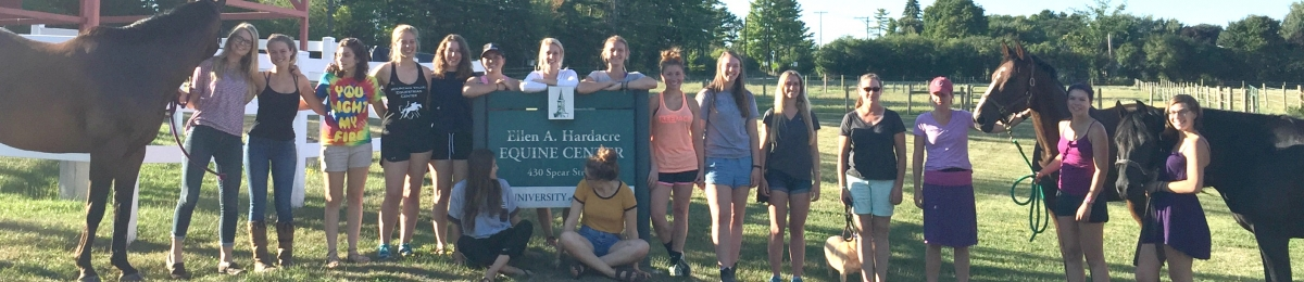 Coop Students and two horses standing with the Horse Barn sign in the grass in summer