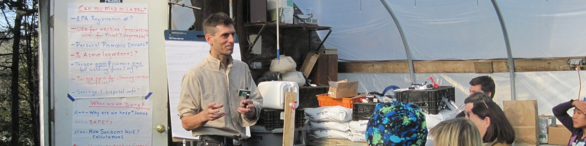 Hans Estrin of UVM Extension explains how wash water sanitizers work