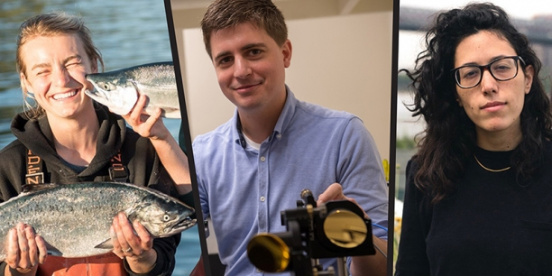 Alumna Claire Neaton, smiling and holding a salmon; Professor Michael Ruggiero in his lab; and alumna Ariel Wengroff, executive producer and publisher at Vice Media