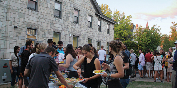 Students on UVM Hillel lawn