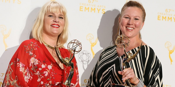 Marie Schley '94 (left) and colleague Nancy Jarzynko, winners of the 2015 Emmy for Outstanding Costumes For A Contemporary Series.
