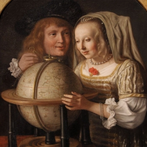 Detail of Lambert Doomer's Couple with a Globe painting