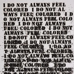 """Detail of Glenn Ligon's """"Untitled (I Do Not Always Feel Black),"""" 1992"""