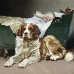 Detail of a painting featuring a Saint Bernard guarding a sleeping baby