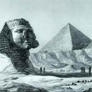 Detail of a French print of the Sphinx and a pyramid