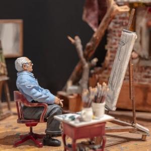 Detail image of Joe Fig's minmiature artwork of Ivan Albright's studio