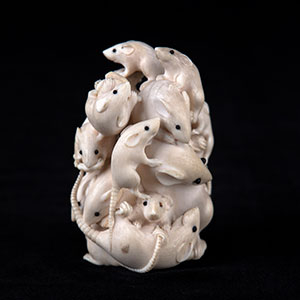 "Image of Japanese Ivory ""Rats"" Sculpture"