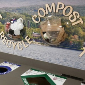 Display examples of trash, recycling and compost