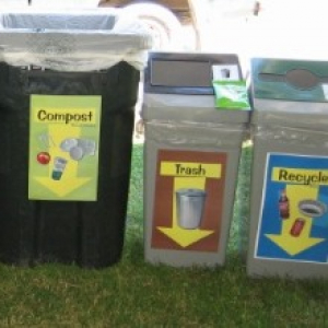 trash, compost, recycling at an outdoor event