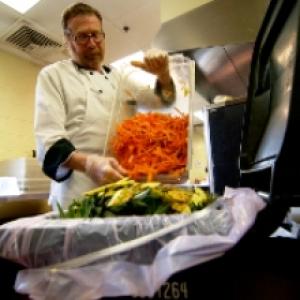 Kitchen worker dumping food scraps