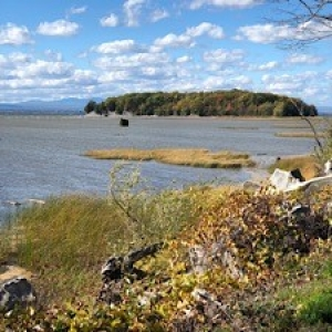 a colchester causeway view of lake champlain from the bike path