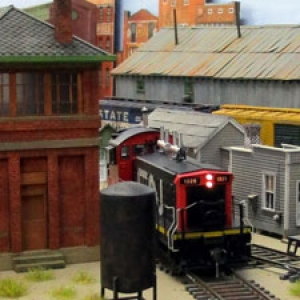 Photo of a model train layout