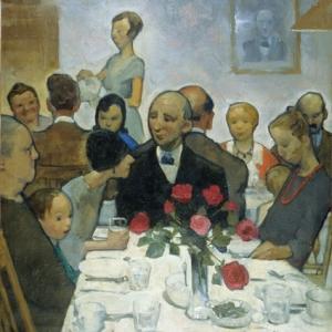 Detail from Hilda Belcher's Chicken Pie Supper painting