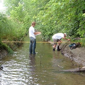 Two students measuring stream