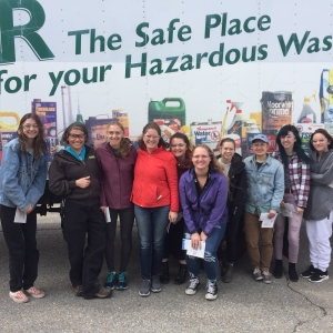 Students in front of a recycling truck