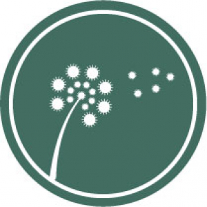 Icon of a flower with pollen on a dark green background