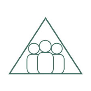 an icon of a triangle with 3 figures in it represent community approach to ACOD work