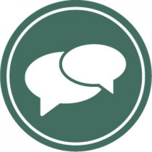 icon image of two speech bubbles showing the lets talk drop in counseling programs