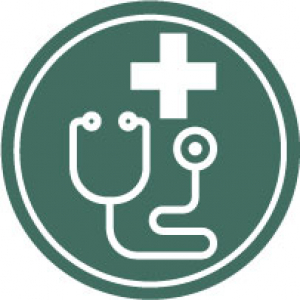 Icon with medical cross and stethoscope