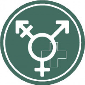 Icon with universal transgender symbol and medical cross on a dark green background