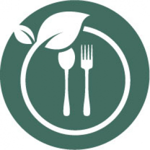Icon of a spoon and fork inside a plant-like circle on a dark green background