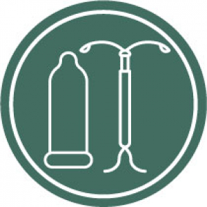 Icon with condom and IUD on a dark green background