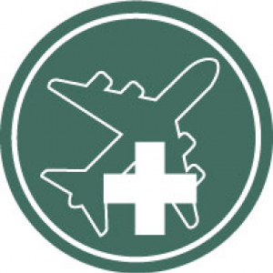 Icon of an airplane and medical cross on a dark green background