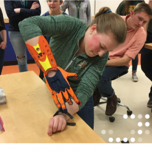 Student with engineered hand