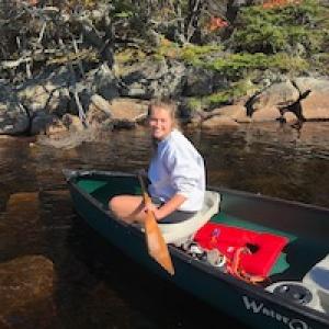 Charlotte Uden in a canoe