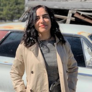 Masoumeh Khodaverdi outside