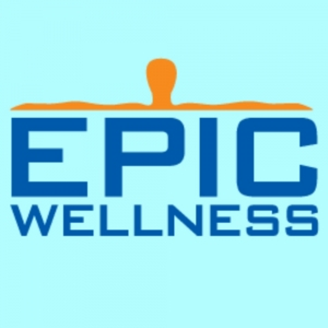 Epic Wellness Logo.  Blue and orange.