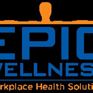 Epic Wellness Logo.  Blue and orange.